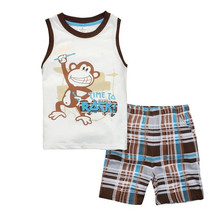 Купить с кэшбэком boys new 2018 cotton sleeveless clothing sets children summer cartoon pajamas suits for baby girls