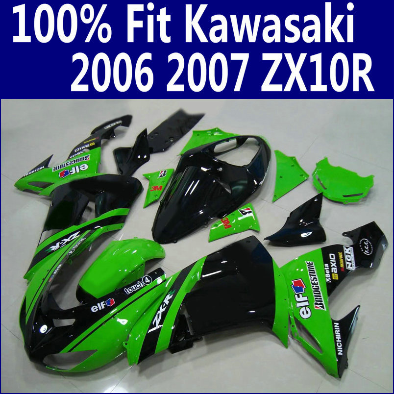 En plastique kit de Carénage pour Kawasaki ZX10R 2006 2007 vert noir carrosserie carénages ensemble Ninja ZX-10R 06 07 ZS24 + 7 cadeaux