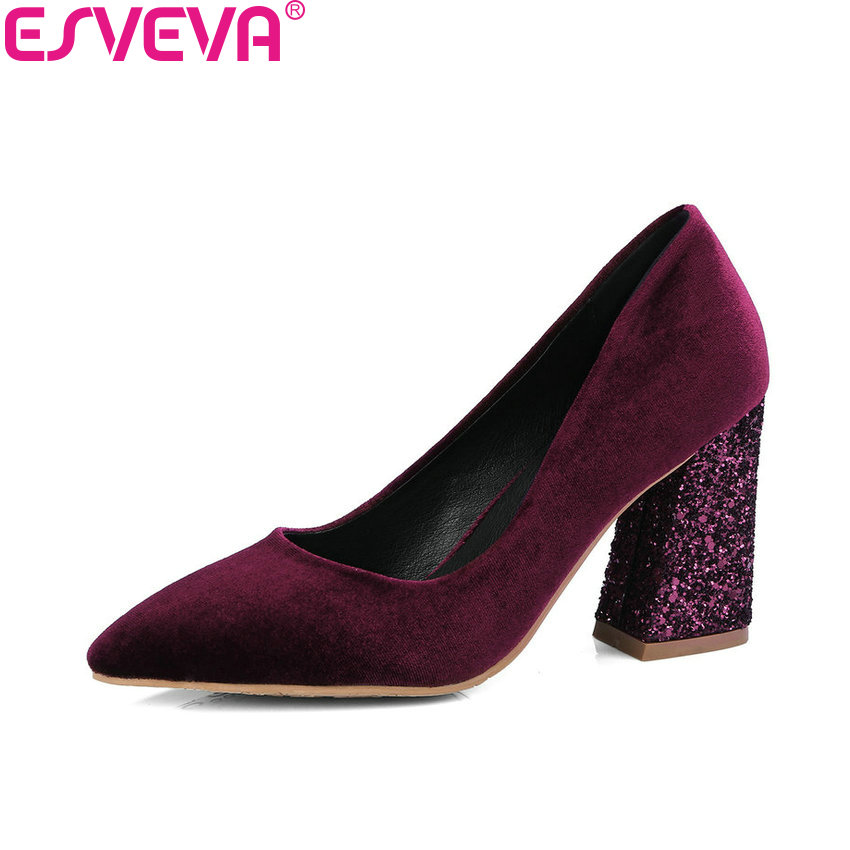 ESVEVA 2018 Women Pumps Elegant Spring and Autumn Square High Heels Pointed Toe Fashion Bling Heels Ladies Shoes Size 34-42 new 2017 spring summer women shoes pointed toe high quality brand fashion womens flats ladies plus size 41 sweet flock t179