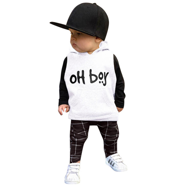 Girls Boys Clothes Set Letter Hooded Tops Long Sleeve Sweatshirt+Pants Toddler Infant Baby 2Pcs Winter Hoodies Clothing Outfits