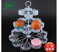 3 Tiers White Lace Iron Cake Stand Can Hold 22 Cakes Cupcake Holder Wedding Decoration Dessert