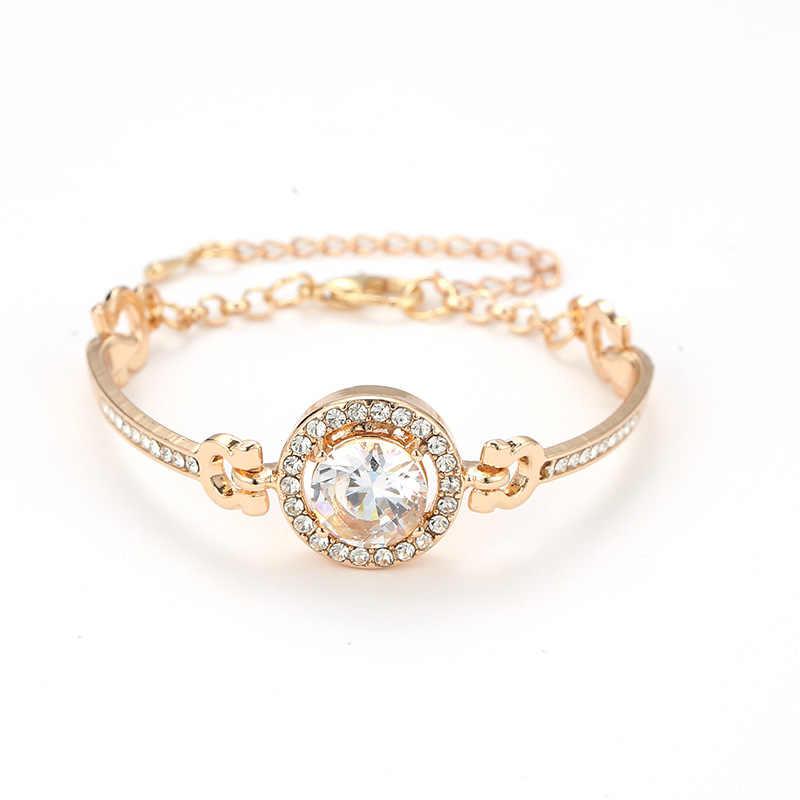 2019 ใหม่บุคลิกภาพ Noble Rhinestone Charm สร้อยข้อมือ Golden Silver Rose Gold แต่งงานสร้อยข้อมือสตรีแฟชั่นเครื่องประดับ