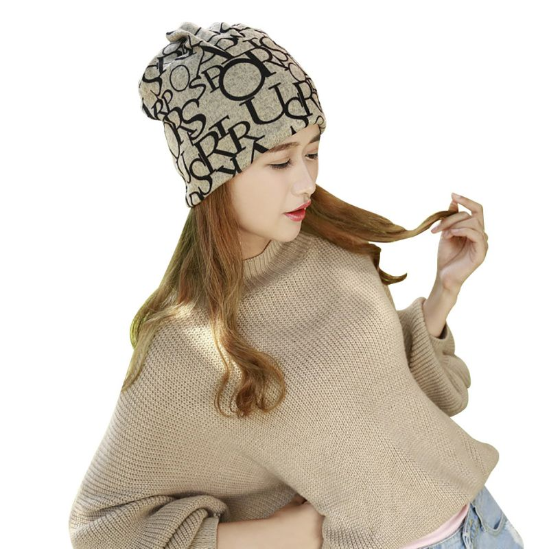 2 Use Cap Knitted Scarf Winter Hats for Women Letter Beanies Women Hip hot font b