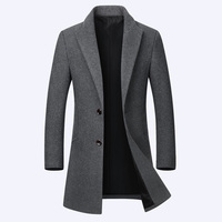 High Quality Autumn Winter Men's Long Woolen Jacket Fashion Lapel Slim Fit Windbreaker Coat Male Casual Overcoat Trench Coat