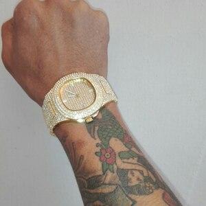 Image 2 - Dropshipping קרח החוצה בלינג יהלומי יוקרה שעון גברים זהב היפ הופ אייס מתוך שעון גברים זהב קוורץ שעונים נירוסטה פלדת relogio