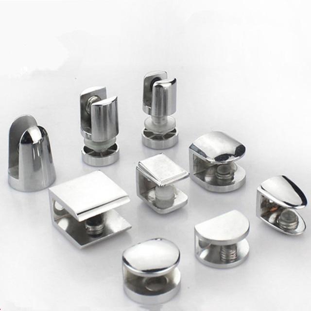 4pcs Zinc Alloy Glass Clamp holder wood shelf support bracket Clip Furniture Hardware Accessories hand tool