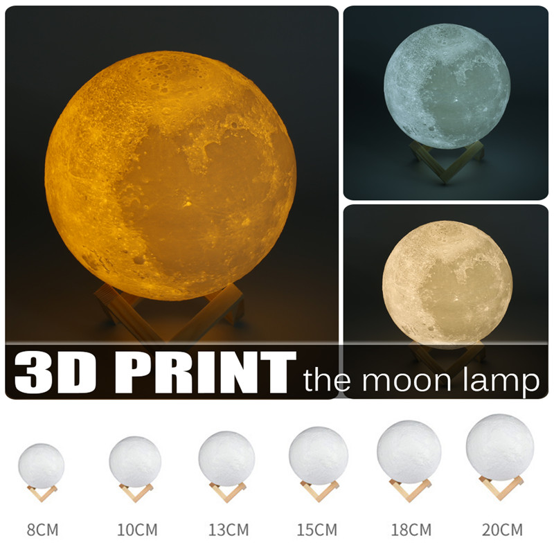 Creative 3D Print Moon Lamp USB LED Night Light Touch Sensor 2/3/7 Colors Changing Rechargeable Night Light Bedroom Home Decor 7 colors led night light moon lamp 3d print moonlight luna touch 2 colors change for creative gift home decor