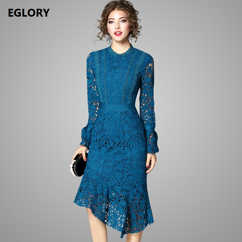 2018 Autumn Designer Runway Style Party Lace Women Allover Hollow Out Lace Embroidery Long Sleeve Dark Blue Mermaid Dress Festa