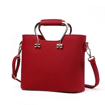 Elegant Wine Red PU Women Handbag Office Lady Clutch Tote High Quality Metal Handle Zipper Crossbody