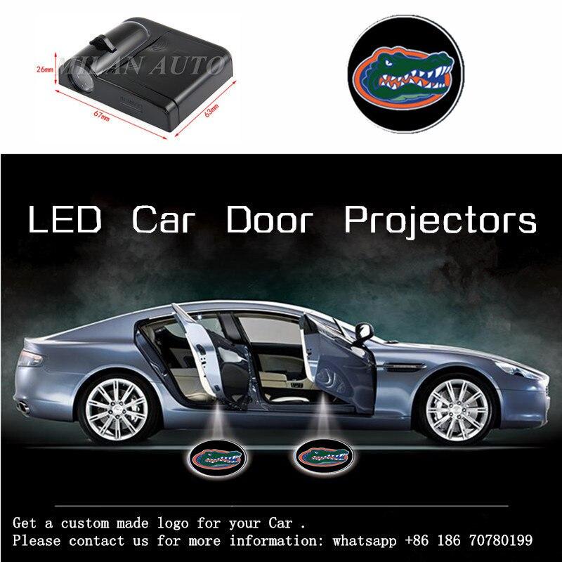 2X Gators Team Auto LED Tür Willkommen Logo Laser Projektor Geister Schatten Licht Für Benz Harley Kia Alfa Opel Hyundai mazda Lada VW