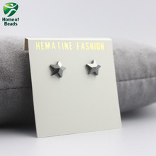 2017 New Cute Star Shape Strong Magnetic Hematite Stud Earrgings Beneficial to Health Lose Weight HE1003