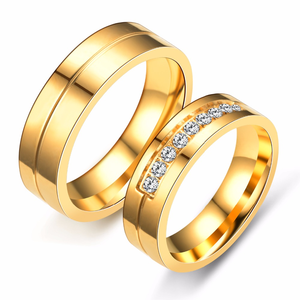 Wedding Golden Rings: 6mm Titanium Steel Simple Couple Ring Gold Ring With CZ