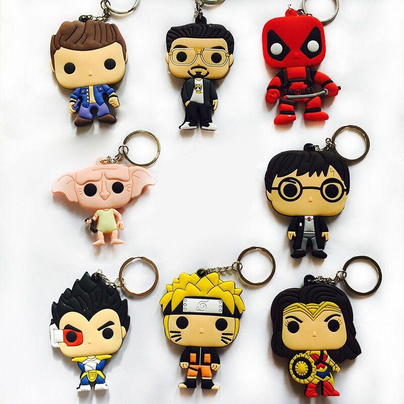 Anime Harri Potter Dobby Wonder Woman Deadpool Naruto Vegeta PVC Action Figure Keychain Phone Strap Pendants Toy Gift