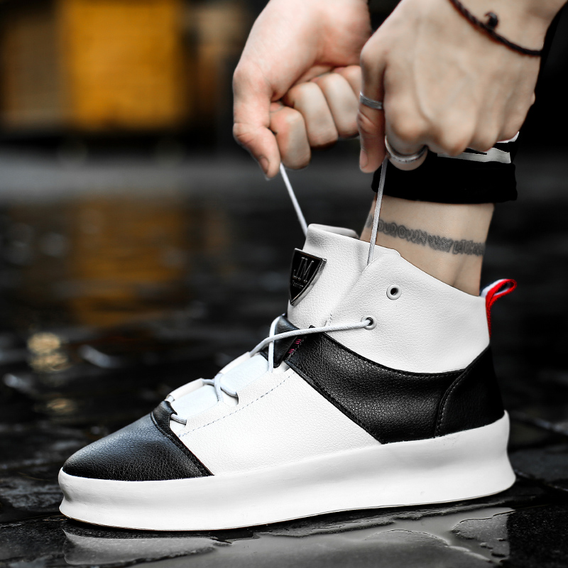 Men Chunky Sneakers 2018 Spring New Lace-Up Hip Hop Ankle Boots Autumn High Top Shoes Men Casual Shoes