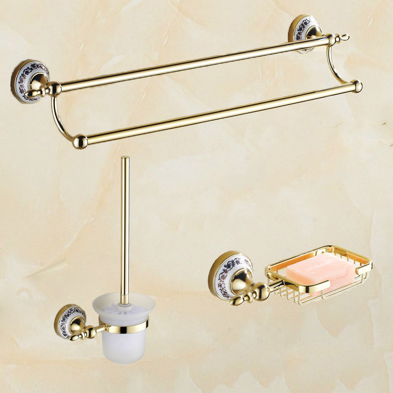 copper golden chrome bathroom accessories suite bathroom double towel bar soap bars brush holder