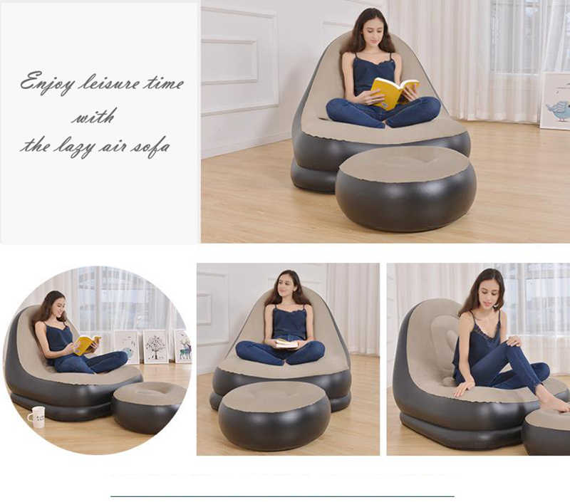 Silla inflable sofá tumbona con taburete de pie otomano descanso sofá individual Beanbag sala de estar al aire libre salón sillas