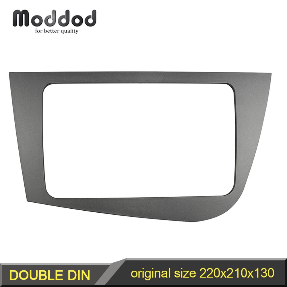 Double Din Radio Frame untuk Seat Leon 2005-2012 Ketua Unit Fascia GPS Navigation Stereo Panel Dash Mount Kit