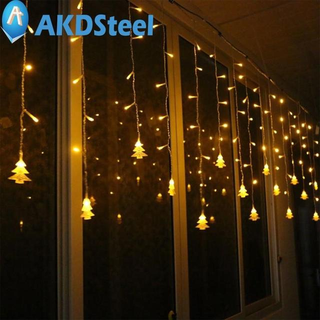 Akdsteel christmas tree led flashing lights string curtain akdsteel christmas tree led flashing lights string curtain decoration extendable lamp fairy outdoor layout new year mozeypictures Image collections
