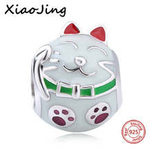 New Style 925-Sterling-Silver Animal Cut Cat Pendants Charms Beads Fit Authentic Pandora Bracelets Jewelry Gifts