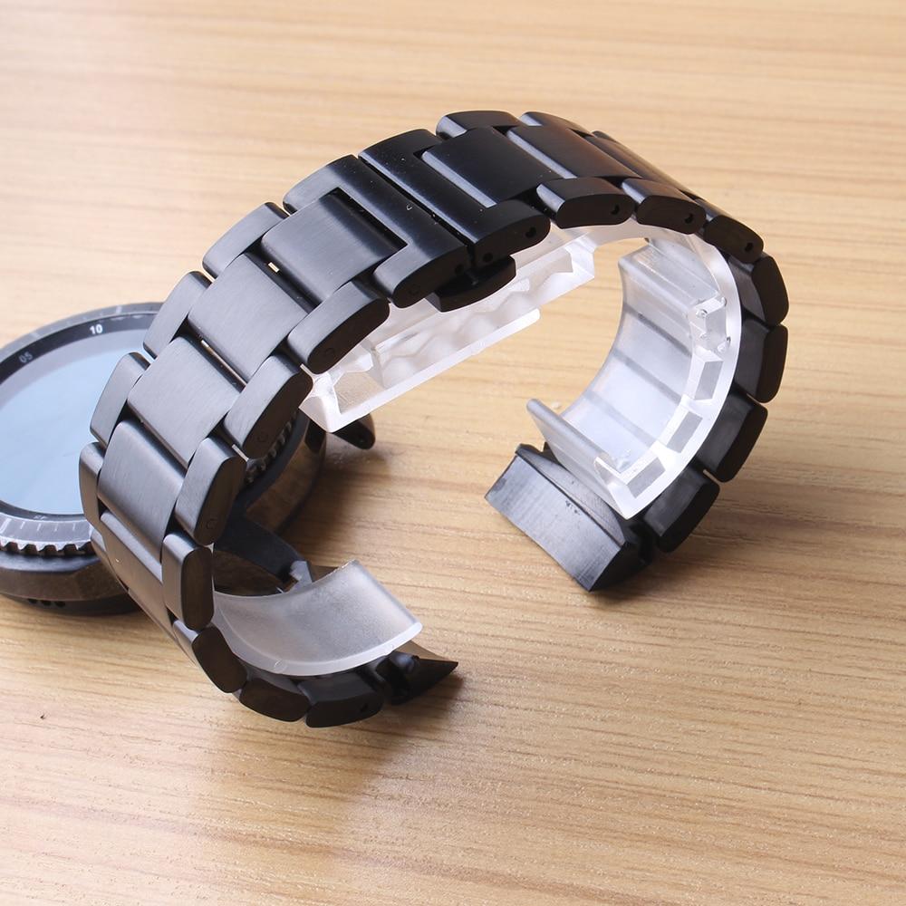 Bracelet de montre mat noir Matel pour Gear S3 spécial liens solides bracelet de montre hommes accessoires 22mm montre bracelet nouvelle promotion