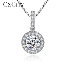 CZCITY Luxury 925 Sterling-Silver Pendants Necklace for Women Fine Jewelry Wedding Gift Engagement Silver Jewelry for Women Gift