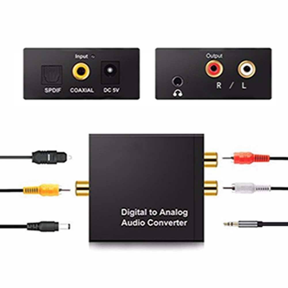 Digital a analógico convertidor de Audio amplificador decodificador de fibra óptica Coaxial señal estéreo analógico Adaptador de Audio 3,5mm Jack 2 * RCA