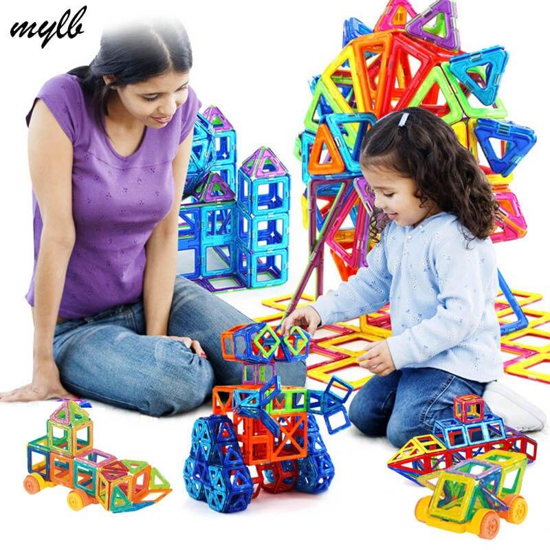 mylb 132pcs 미니 모델 및 빌딩 마그네틱 블록 장난감 세트 자석 디자이너 건설 플라스틱 교육 완구 선물 어린이위한