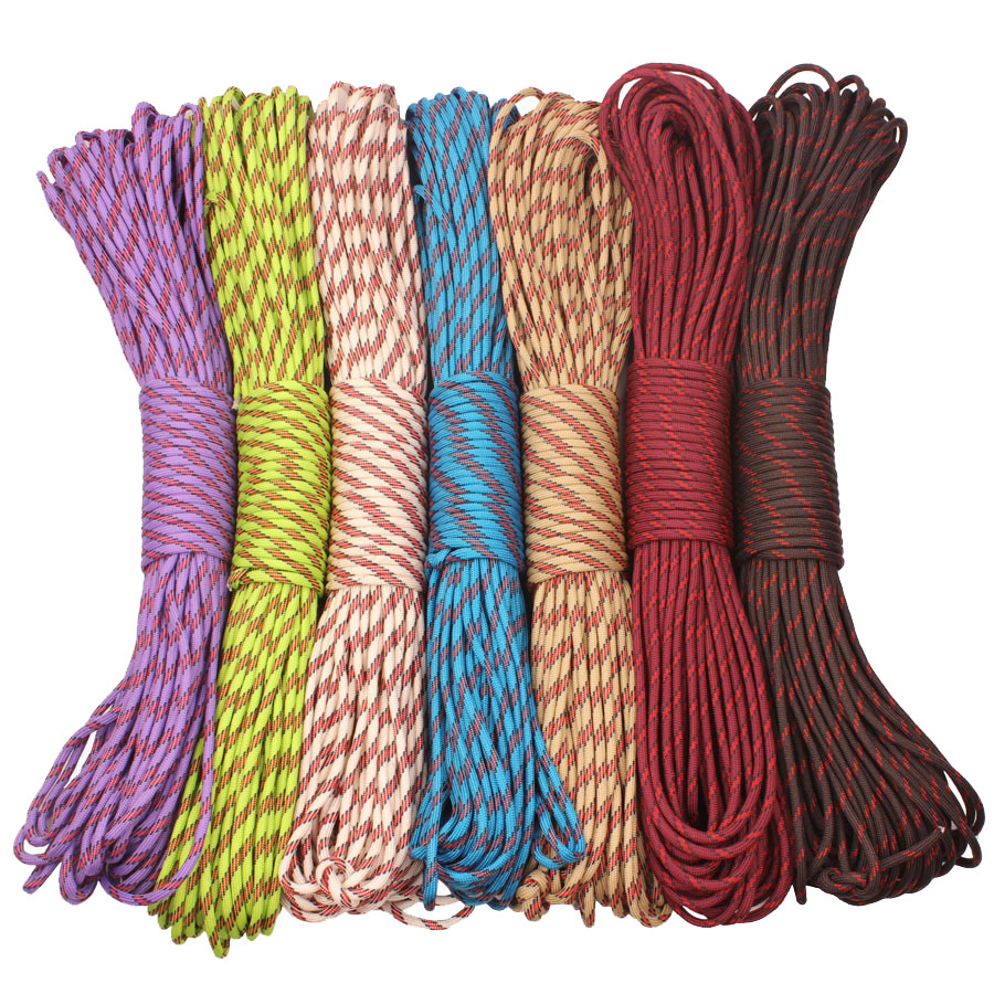 CAMPINGSKY Paracord 4mm 100ft 550 Paracord Cord Lanyard Rope untuk Hiking Camping
