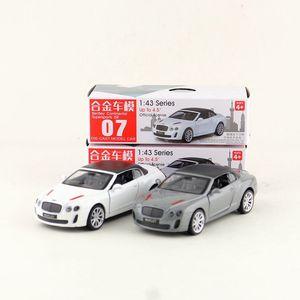 Металлическая Игрушечная модель с литьем под давлением, 1:43 весы Bentley, для суперспорта, ISR, Pull Back, образовательная коллекция, подарок для детей...