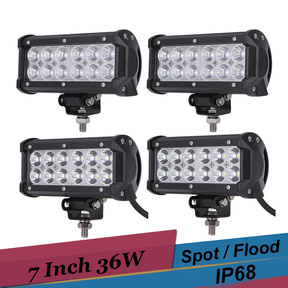 4PCS 36W Spot Flood LED Bar Work Light 7 Inch Car SUV ATV Pickup 4WD Tractor Driving Fog Lamp for Jeep Ford 12v 24v Offroad led 7inch 18w with cree chip led car work light bar 4wd spot fog atv suv driving lamp led bar for offroad tractor driving lamp