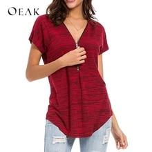 OEAK mujeres de verano de manga corta Camiseta Casual con cremallera cuello  camisetas 2018 Mujer Top 47b1f9af3c2