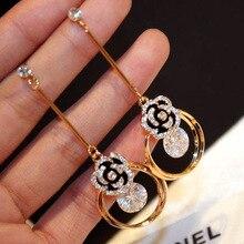 Mimiyagu flower shining cubic crystal drop tassel Earrings for women wedding party jewelry