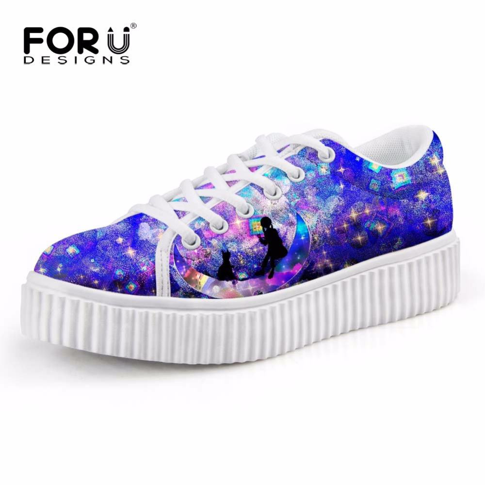 FORUDESIGNS Starry Night Women Casual Flats Platform Shoes Height Increasing Female Low Creepers Shoes Woman 3D Galaxy Shoes qmn women laser cut genuine leather platform flats women square toe height increasing brogue shoes woman flats creepers 34 39