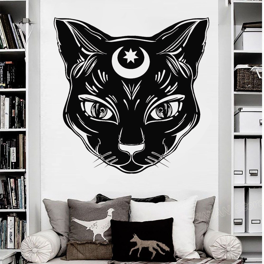 US $7 99 25% OFF|Black Cat Moon Vinyl Wall Stickers Witch Magic Witchcraft  Art Wall Decal DIY Self adhesive Wallpaper Removable 3d Poster Z957-in Wall