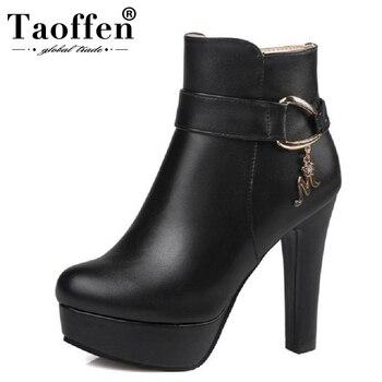 TAOFFEN/женские ботильоны на платформе, женская обувь на высоком каблуке, осенне-зимняя теплая обувь на молнии, Botas Mujer, обувь на каблуке, размер ...