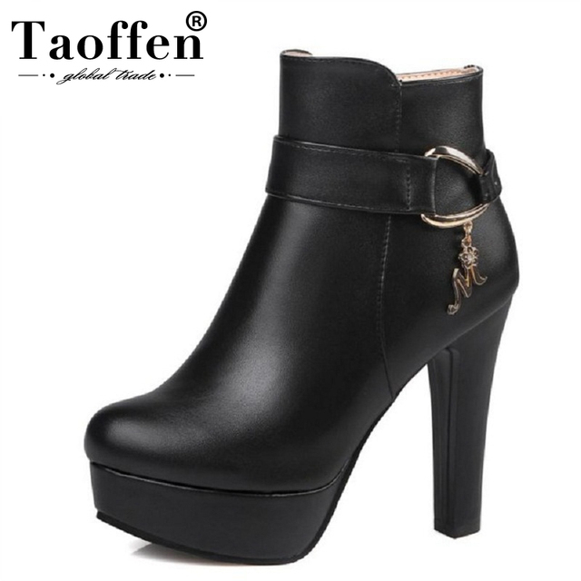 TAOFFEN Senhoras Botas do Tornozelo da Plataforma Das Mulheres Sapatos de Salto Alto Outono Inverno Quente Zip Botas Mujer Salto Alto Calçados Tamanho 32- 43