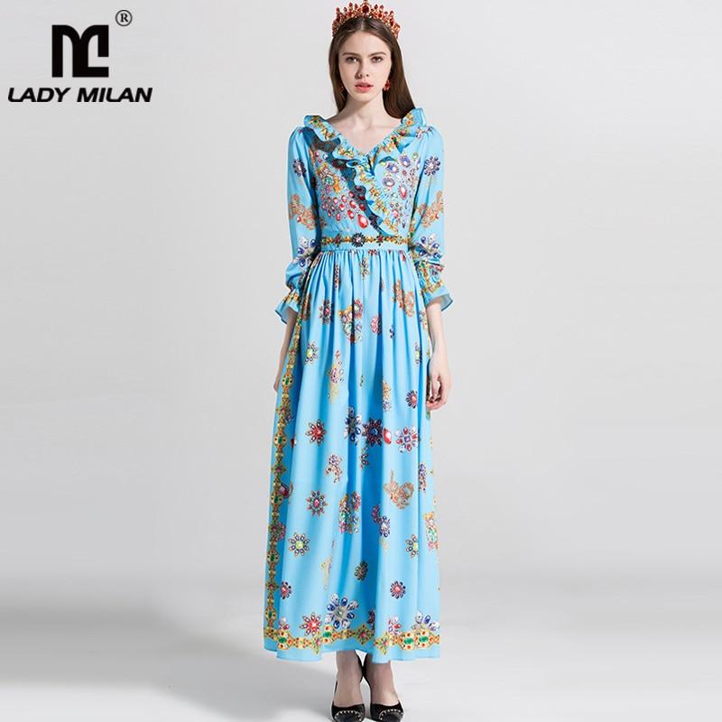 2018 Womens Sexy V Neck Long Sleeves Ruffles Floral Printed Beaded Fashion Designer Maxi Dresses