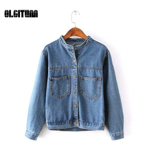 OLGITUM 2017 Women's Clothing Denim Jacket Vintage Leisure Loose Women's Jeans Women Short Jean Jacket women Outwear JK202