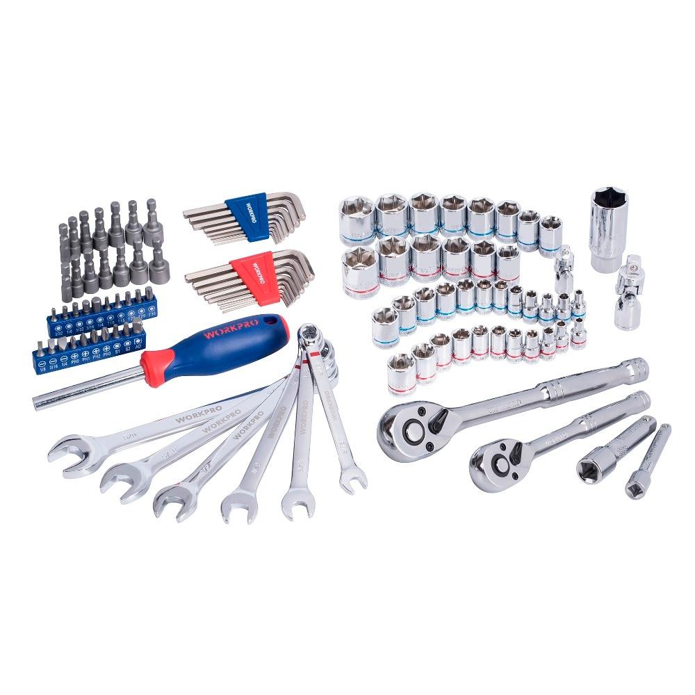 WORKPRO 101 шт. набор инструментов домашние Инструменты для ремонта автомобилей разъемы для инструментов набор гаечные ключи с задерживающими храповиками гаечные ключи - 3