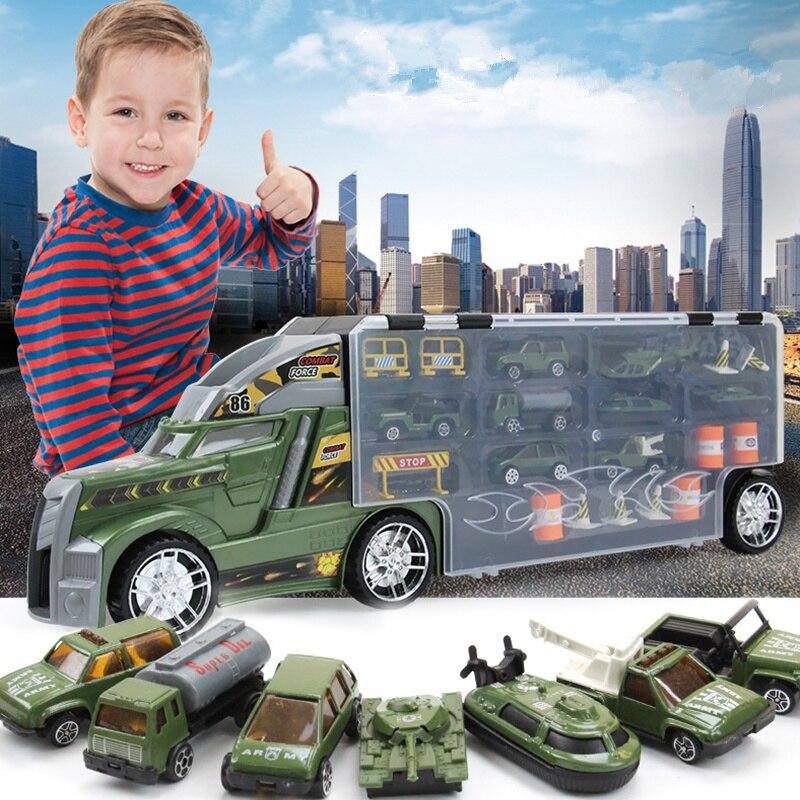 21 en 1 Enfant Jouet Militaire Camion Coule Sous Pression et Véhicules Jouets Éducatifs 1:24 Voitures de Transport Transporteur Jouet Pour Enfants Garçons