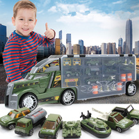 21 in 1 Child Toy Military Truck Diecasts and Toy Vehicles Educational 1:24 Transport Cars Carrier Toy For Children Boys
