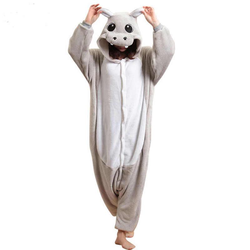 Теплые животное Бегемот комбинезон для взрослых Для мужчин Для женщин  Kugurumi пижамы-комбинезоны пара Хэллоуин 1e74f7bed194b