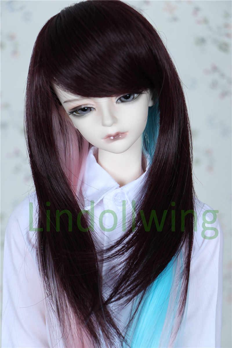Perruque BJD 1/3 Pullip Dal DD SD LUT Dollfie perruque de poupée 8-9 pouces cheveux longs marron rose bleu