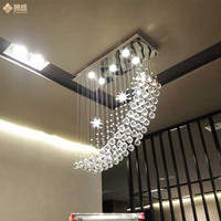 Modern restaurant crystal lamp LED hanging line meal K9 Ceiling Lights creative individual star ship light bedroom study stairs