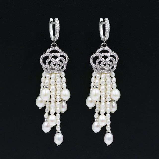 Genuine Wedding Multi Freshwater Pearl Chandelier Earrings Copper Cubic Zirconia Flower Drop Earring Accessories Jewelry