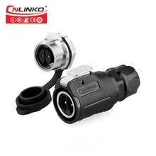 Cnlinko M16 2 Pin Bulkhead Waterproof IP67 Push Pull Plstic with Metal Circular Plug Socket IP65 Power Electrical Wire Connector
