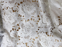 Heavy 3D Rose Flower Petal Guipure Fabric Embroidered Apparel Sewing Tissue For Wedding Dress, Costume Design