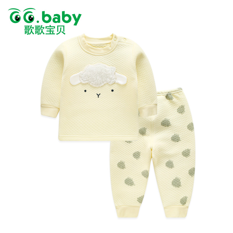 купить Thick Baby Boy Clothes Set Winter Baby Girl Clothing Set Baby Suit Top Pants Newborn Sleepwear Kit Child Clothes Pajamas Sets онлайн