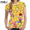 FORUDESIGNS Emoji Печатных Женщин Футболки 3D Smiley Face Эмоций Прекрасный Смешно Уличная Повседневная футболка С Коротким Рукавом Девочек-Подростков