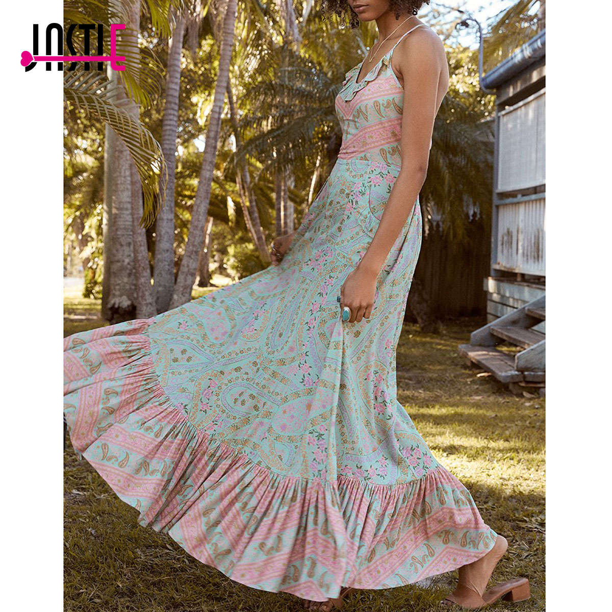 Jastie City Lights Gown Midi Dress Elastic Waist Open Back Sexy Dresses Bohemian Print Women Dress Boho Casual Beach Dresses